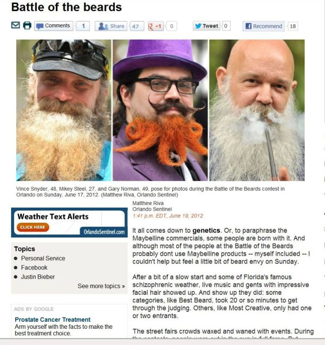 Orlando Sentinel June 2012 Battle of the Beards